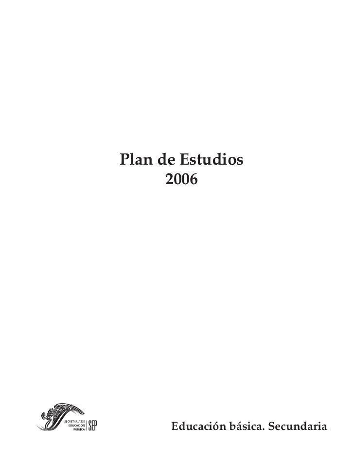 Plan de estudios secundaria.2006