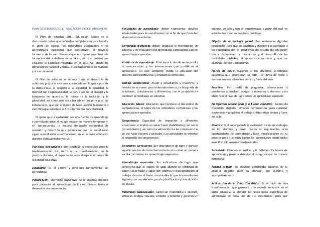 Plan de estudios 2011 en resumen