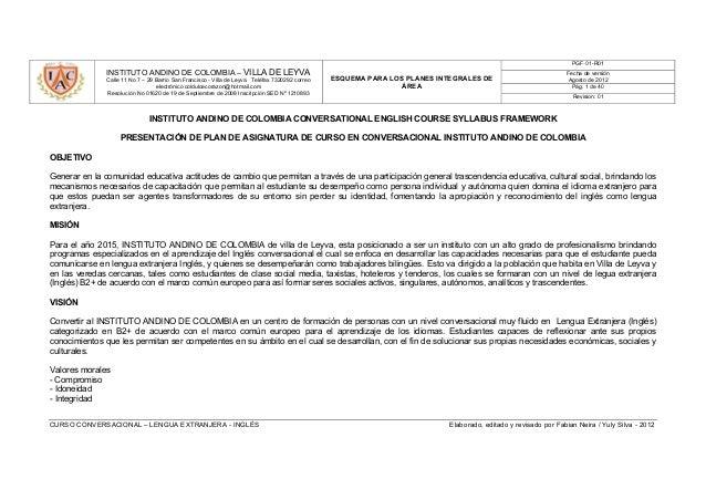 Plan de estudios curso conversacional instituto andino