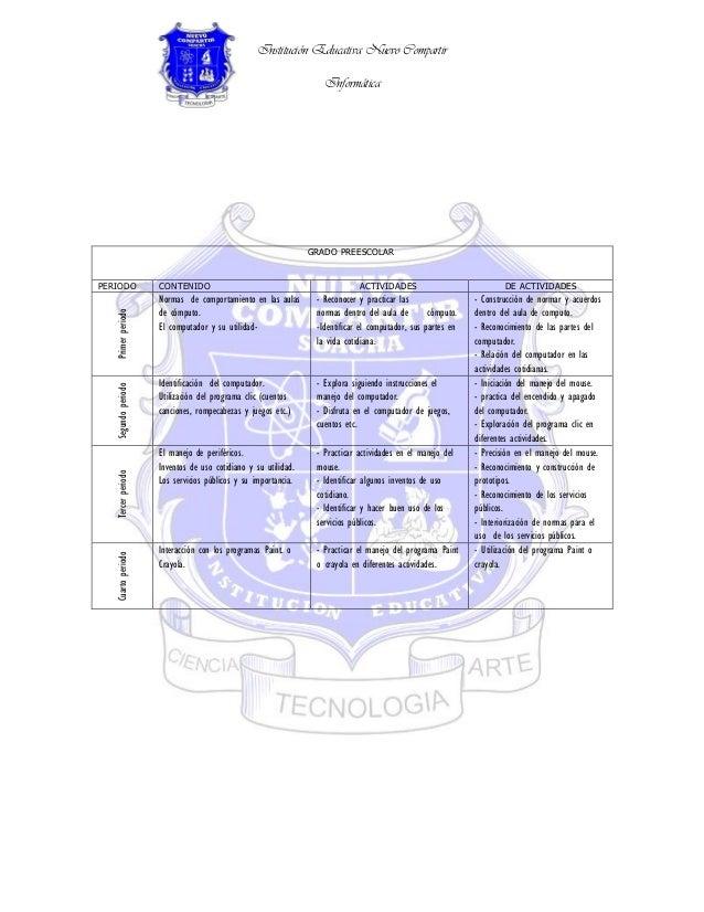 Institución Educativa Nuevo Compartir                                                                   Informática       ...