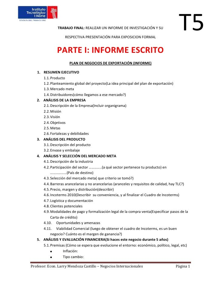 Plan de exportación t5