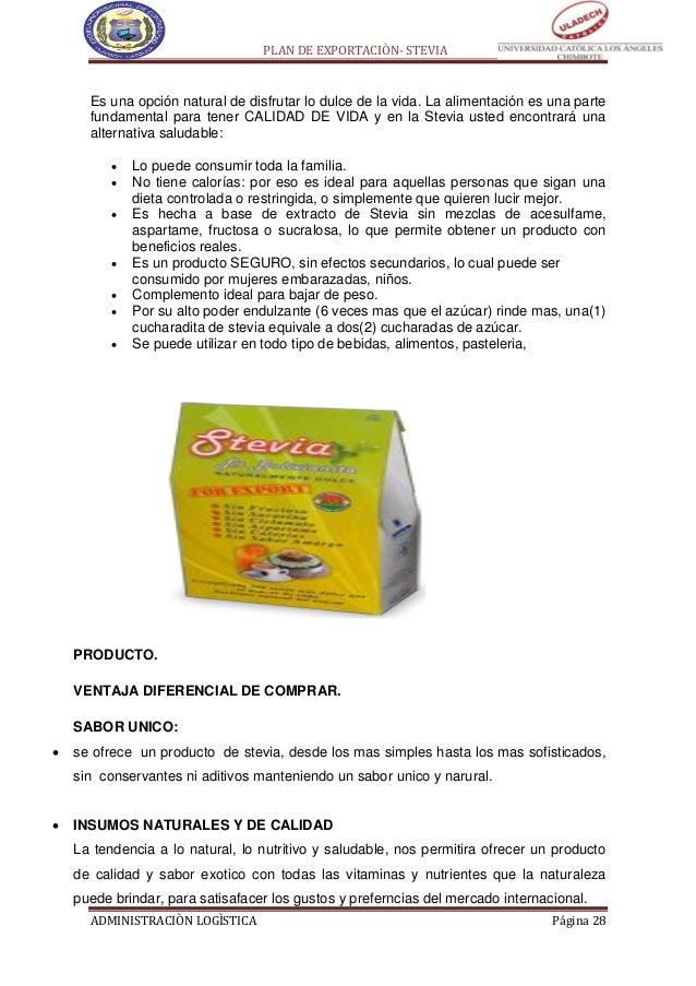 Plan de exportacion de stevia