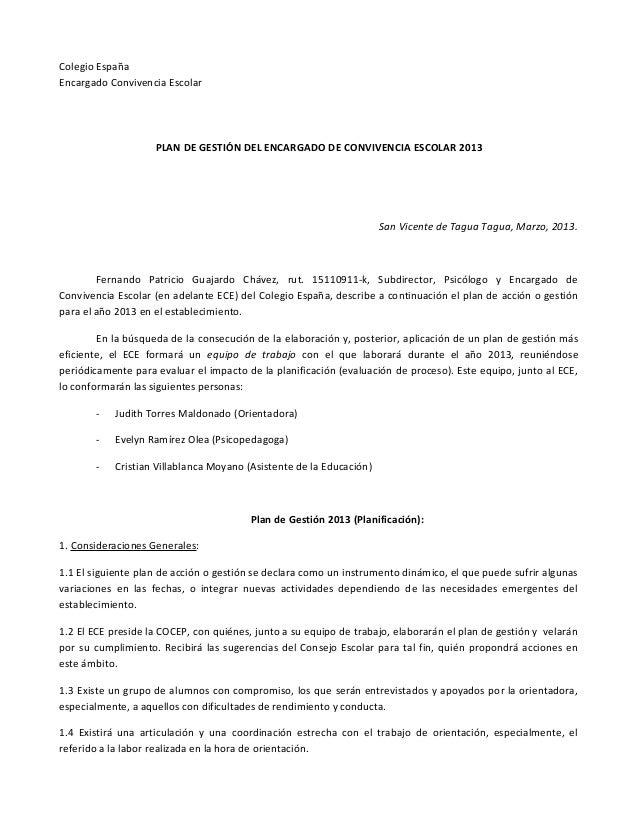 Colegio EspañaEncargado Convivencia Escolar                    PLAN DE GESTIÓN DEL ENCARGADO DE CONVIVENCIA ESCOLAR 2013  ...