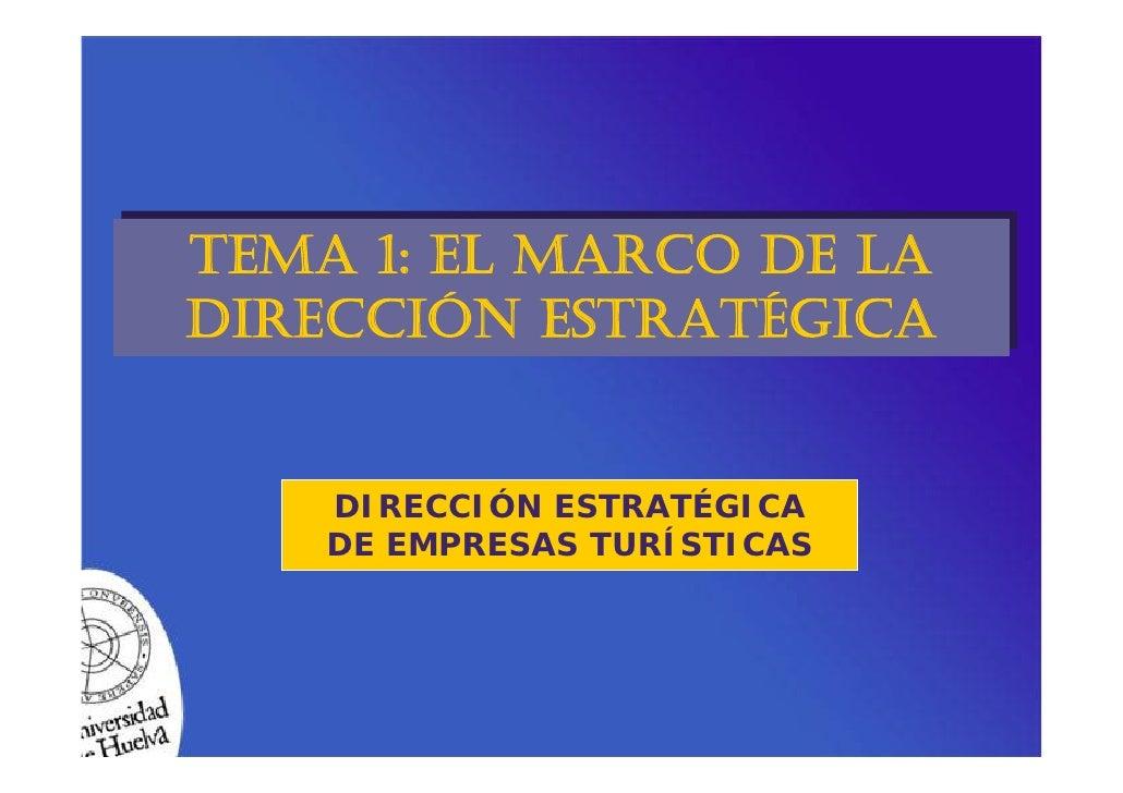 TEMA 1: EL MARCO DE LA TEMA 1: EL MARCO DE LA DIRECCIÓN ESTRATÉGICA DIRECCIÓN ESTRATÉGICA       DIRECCIÓN ESTRATÉGICA     ...