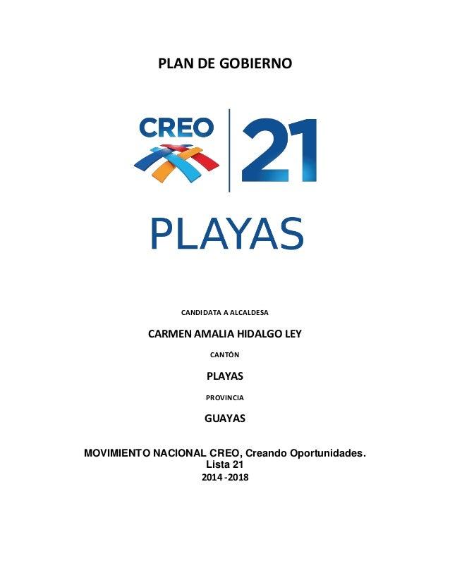 PLAN DE GOBIERNO  CANDIDATA A ALCALDESA  CARMEN AMALIA HIDALGO LEY CANTÓN  PLAYAS PROVINCIA  GUAYAS MOVIMIENTO NACIONAL CR...