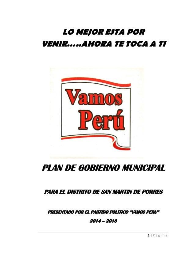 PLAN DE GOBIERNO MUNICIPAL SAN MARTÍN DE PORRES - Vamos Perú