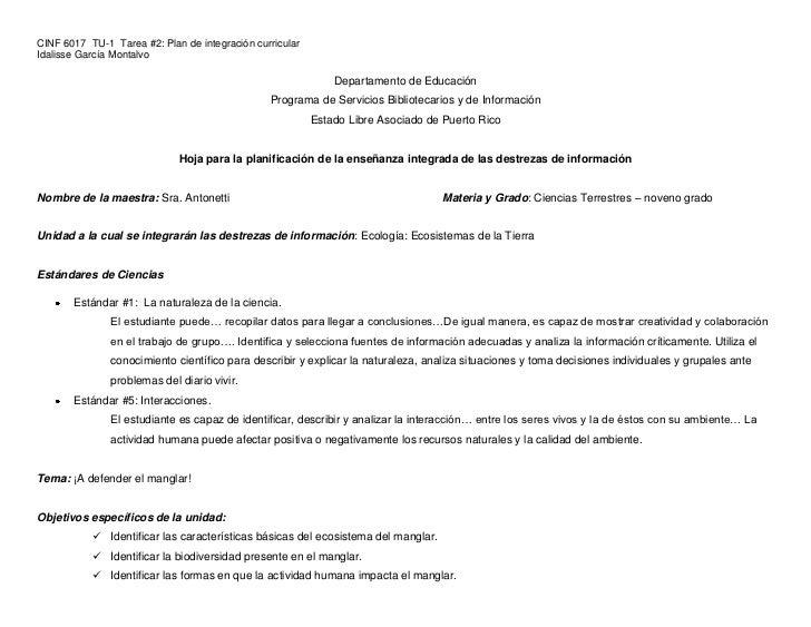 CINF 6017 TU-1 Tarea #2: Plan de integración curricularIdalisse García Montalvo                                           ...