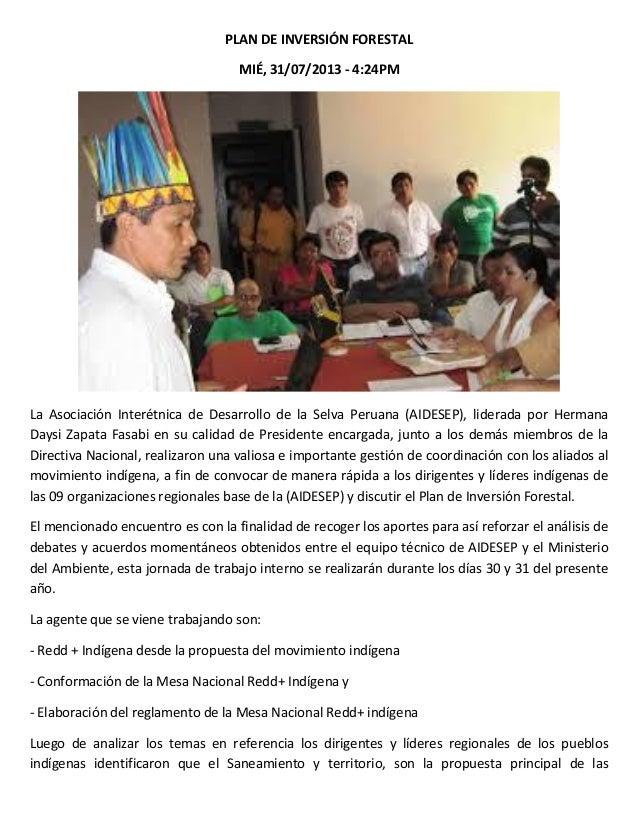 PLAN DE INVERSIÓN FORESTAL MIÉ, 31/07/2013 - 4:24PM La Asociación Interétnica de Desarrollo de la Selva Peruana (AIDESEP),...