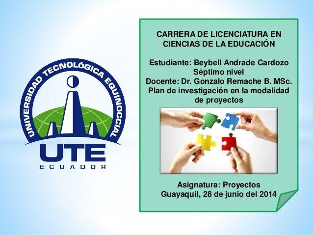 CARRERA DE LICENCIATURA EN CIENCIAS DE LA EDUCACIÓN Estudiante: Beybell Andrade Cardozo Séptimo nivel Docente: Dr. Gonzalo...