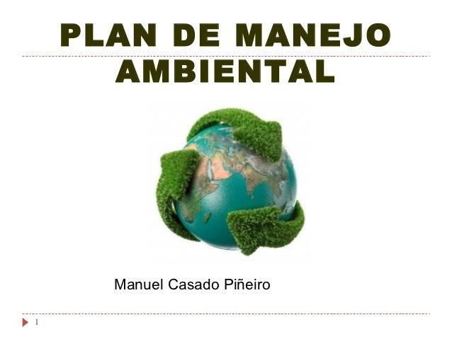 PLAN DE MANEJO      AMBIENTAL      Manuel Casado Piñeiro1
