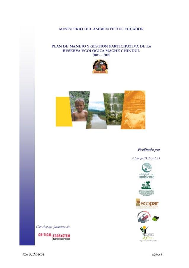 Plan de manejo y gestion participativa de la reserva ecologica mache chindul