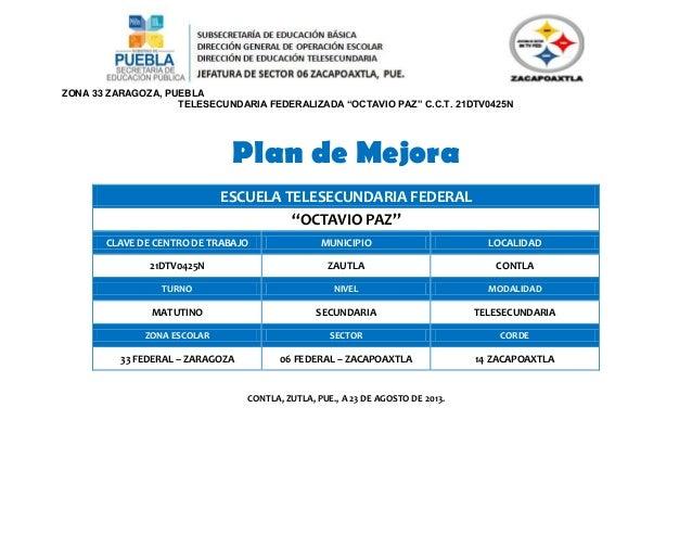 Plan de mejora octavio paz 2013 2014