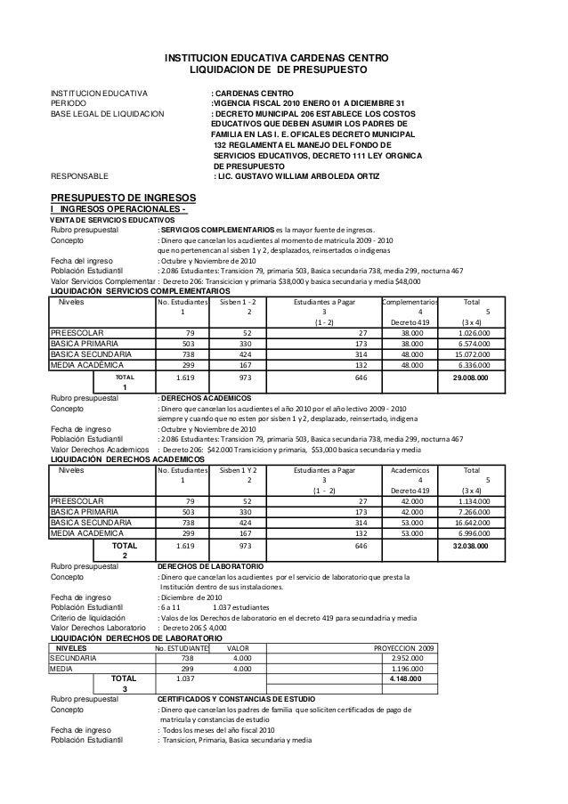 INSTITUCION EDUCATIVA : CARDENAS CENTRO PERIODO :VIGENCIA FISCAL 2010 ENERO 01 A DICIEMBRE 31 BASE LEGAL DE LIQUIDACION : ...
