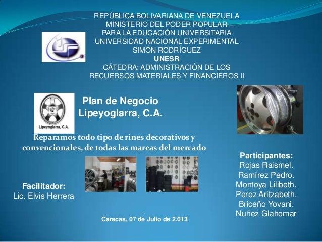 Plan de negocio Empresa Lipeyoglarra, C.A.