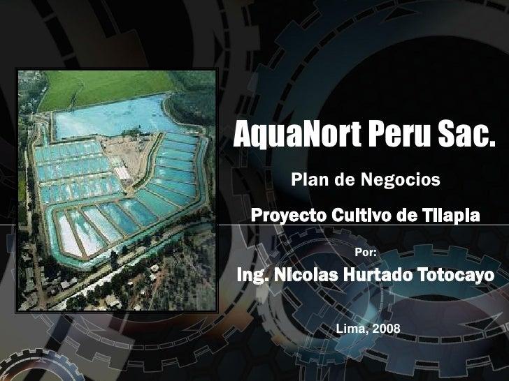 AquaNort Peru Sac.      Plan de Negocios Proyecto Cultivo de Tilapia             Por:Ing. Nicolas Hurtado Totocayo        ...