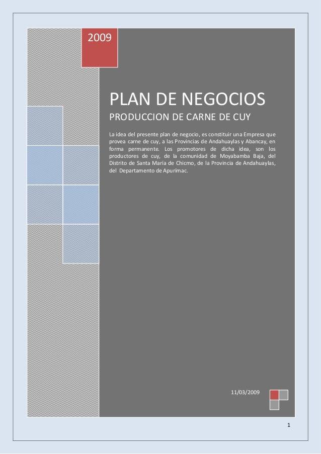 2009  PLAN DE NEGOCIOS PRODUCCION DE CARNE DE CUY La idea del presente plan de negocio, es constituir una Empresa que prov...