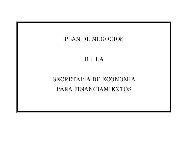 PLAN DE NEGOCIOS DE LA SECRETARIA DE ECONOMIA PARA FINANCIAMIENTOS