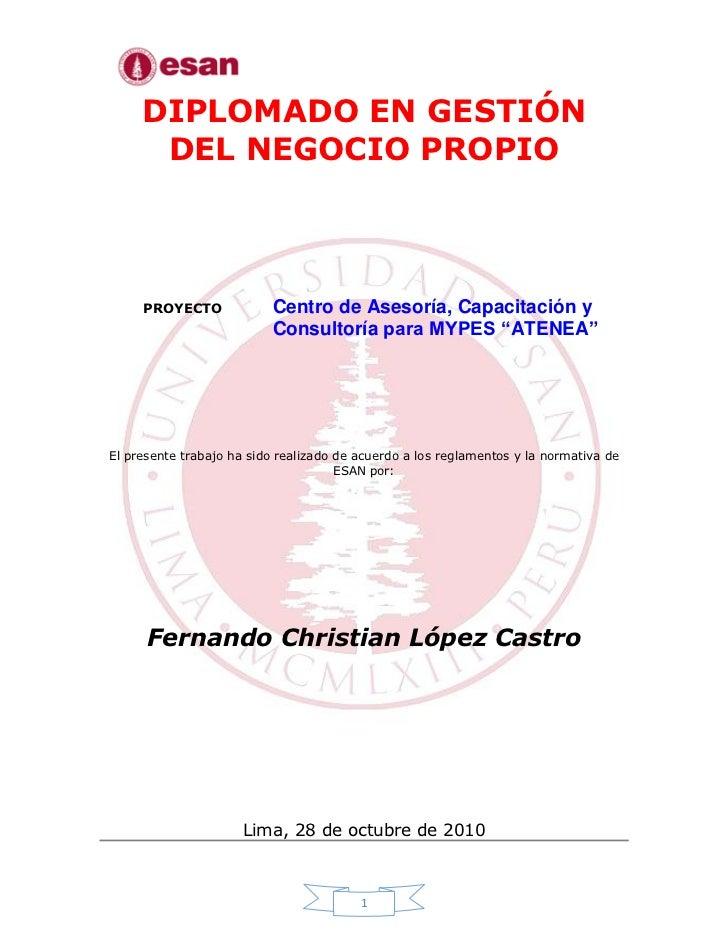 DIPLOMADO EN GESTIÓN      DEL NEGOCIO PROPIO     PROYECTO             Centro de Asesoría, Capacitación y                  ...