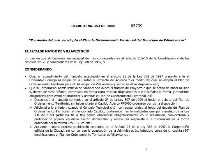 """DECRETO No. 353 DE 2000                   63739  """"Por medio del cual se adopta el Plan de Ordenamiento Territorial del Mun..."""