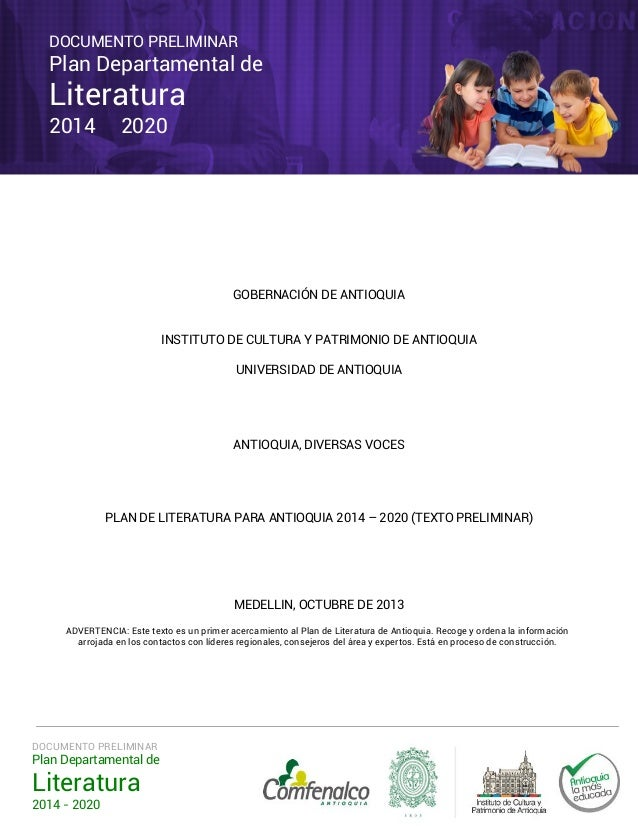 Plan Departamental de Literatura 2014-2020 Documento preliminar