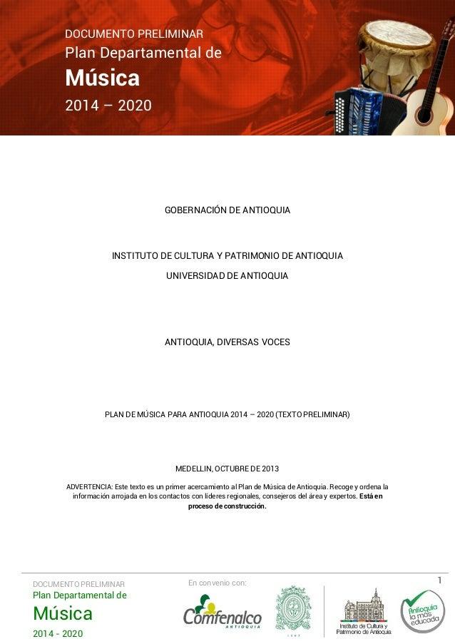 Plan Departamental de Música 2014-2020 Documento Preliminar