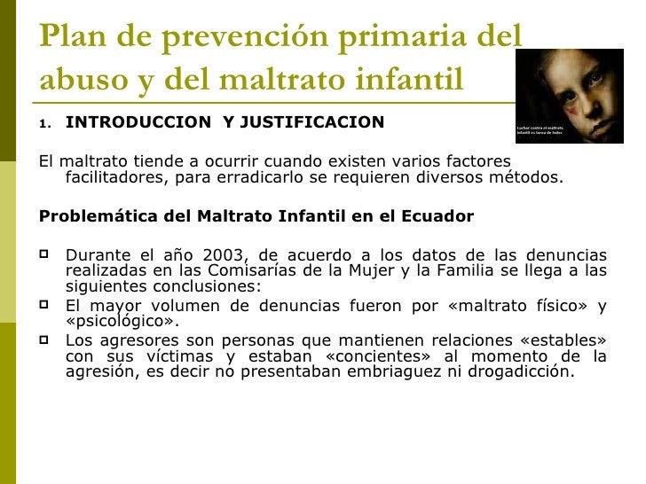 Plan de prevención primaria del abuso y del