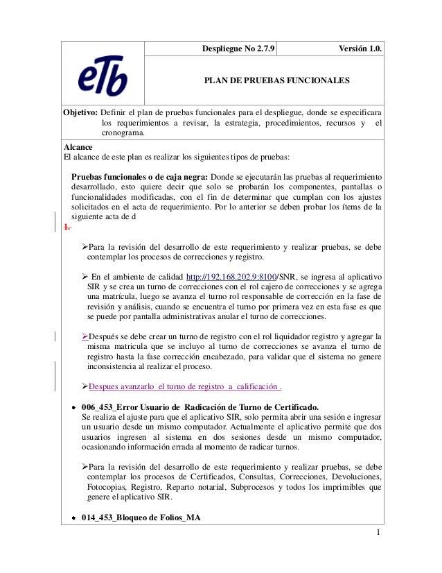 Despliegue No 2.7.9                      Versión 1.0.                                           PLAN DE PRUEBAS FUNCIONALE...