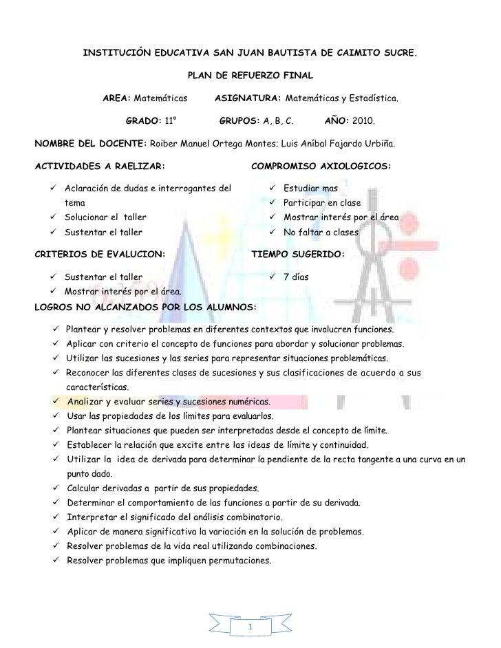 INSTITUCIÓN EDUCATIVA SAN JUAN BAUTISTA DE CAIMITO SUCRE.<br />PLAN DE REFUERZO FINAL<br />AREA: Matemáticas          ASIG...