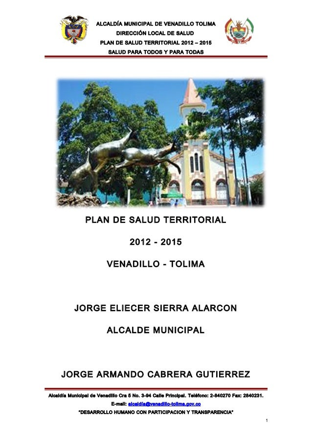 ALCALDÍA MUNICIPAL DE VENADILLO TOLIMA                              DIRECCIÓN LOCAL DE SALUD                       PLAN DE...