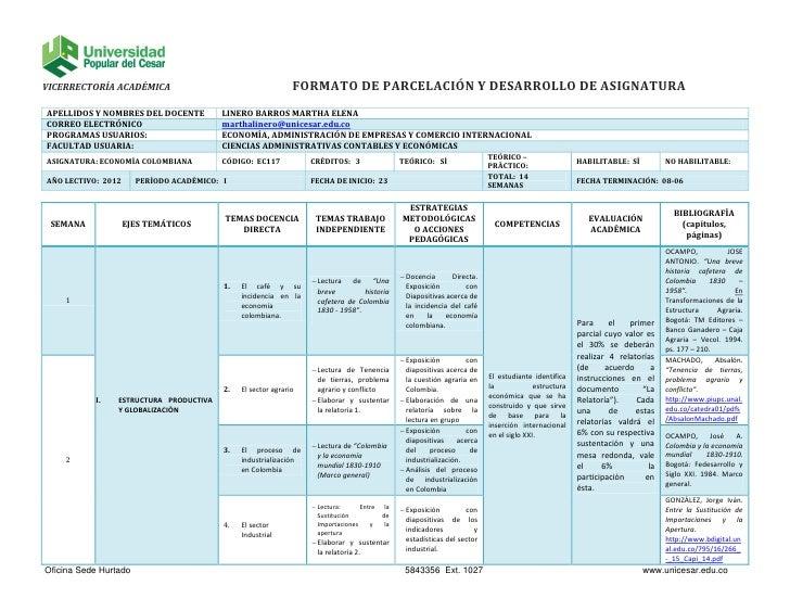 VICERRECTORÍA ACADÉMICA                                        FORMATO DE PARCELACIÓN Y DESARROLLO DE ASIGNATURAAPELLIDOS ...