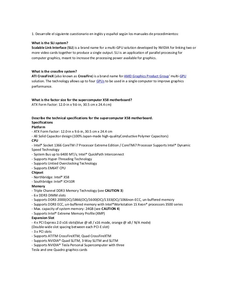 1. Desarrolle el siguiente cuestionario en inglés y español según los manuales de procedimientos: <br />What is the SLI sy...