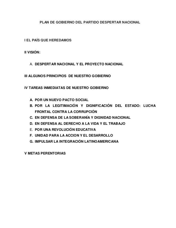 PLAN DE GOBIERNO DEL PARTIDO DESPERTAR NACIONALI EL PAÍS QUE HEREDAMOSII VISIÓN:   A. DESPERTAR NACIONAL Y EL PROYECTO NAC...