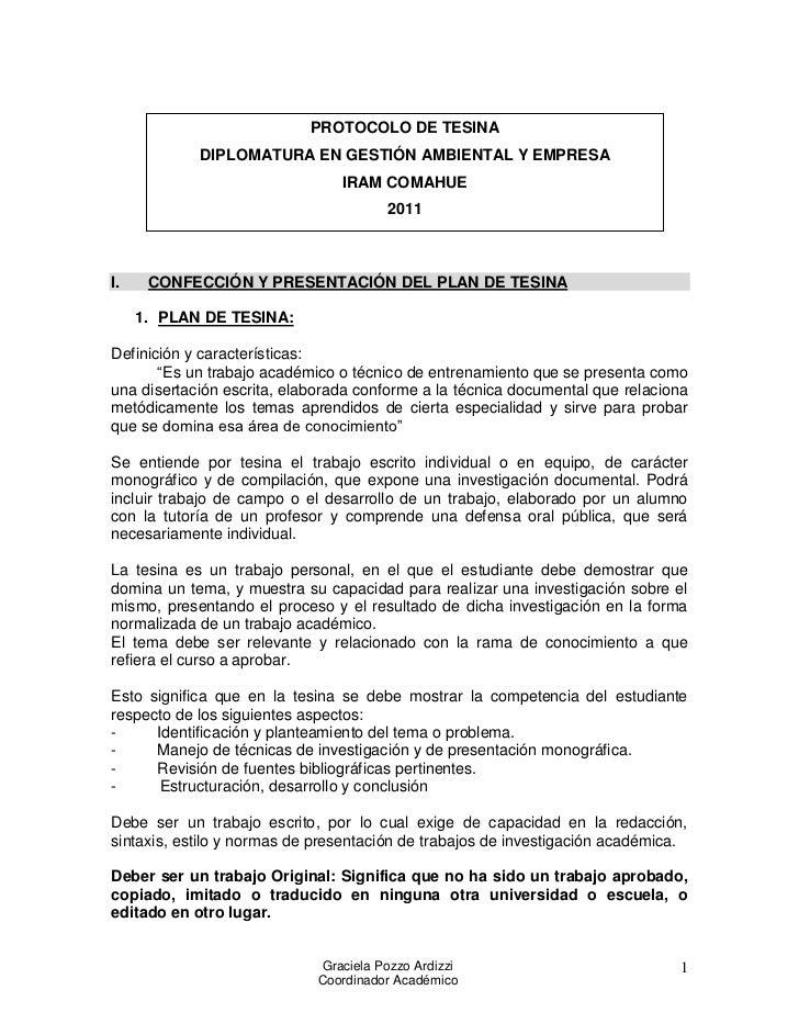 PROTOCOLO DE TESINA            DIPLOMATURA EN GESTIÓN AMBIENTAL Y EMPRESA                                IRAM COMAHUE     ...