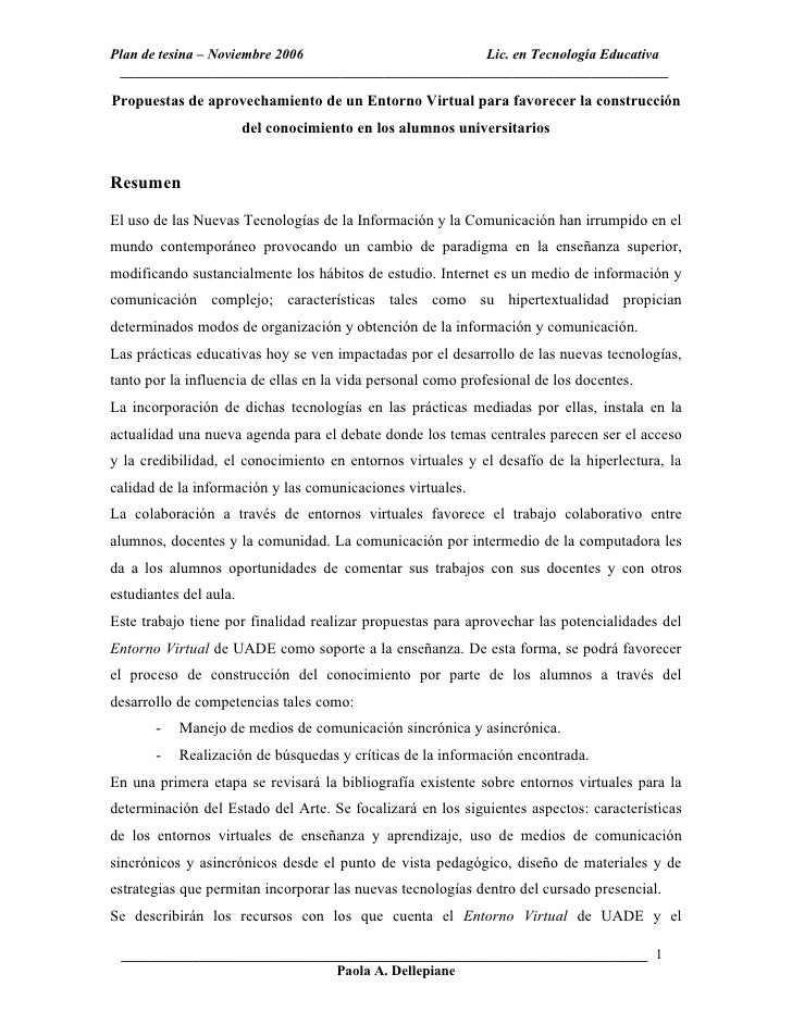 Plan de tesina – Noviembre 2006                      Lic. en Tecnología Educativa   ______________________________________...