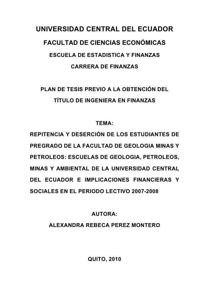 UNIVERSIDAD CENTRAL DEL ECUADOR     FACULTAD DE CIENCIAS ECONÓMICAS       ESCUELA DE ESTADISTICA Y FINANZAS              C...