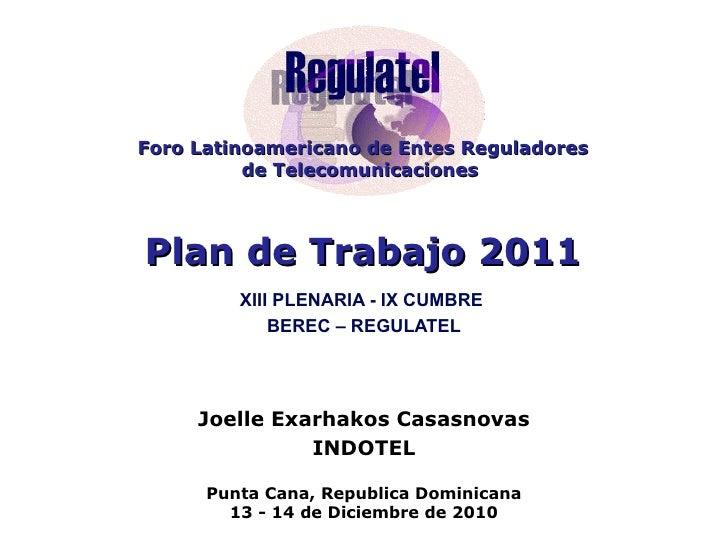 Plan de trabajo 2011  regulatel, dic 13, 2010