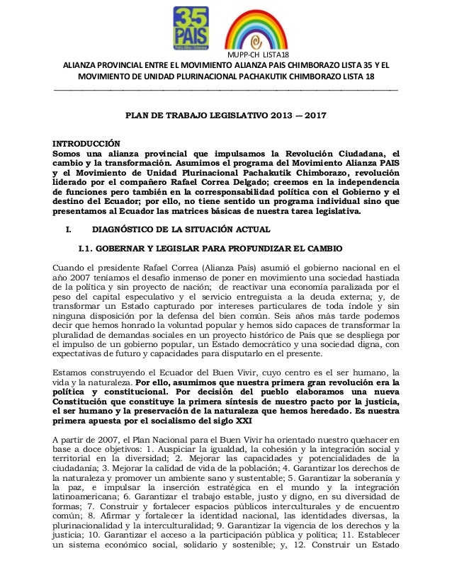 Plan de Trabajo Legislativo 2013-2017