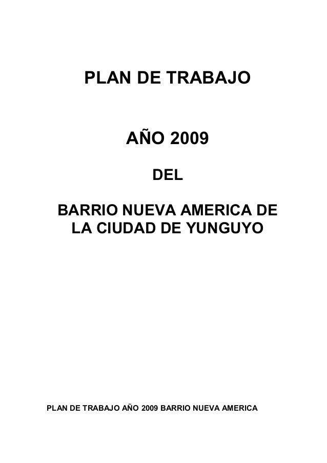 Plan de trabajo barrio nueva america 2009