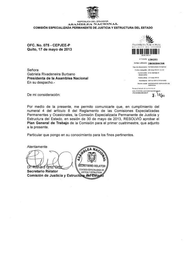 Plan de trabajo de la Comisión de Justicia (17-May-2013)