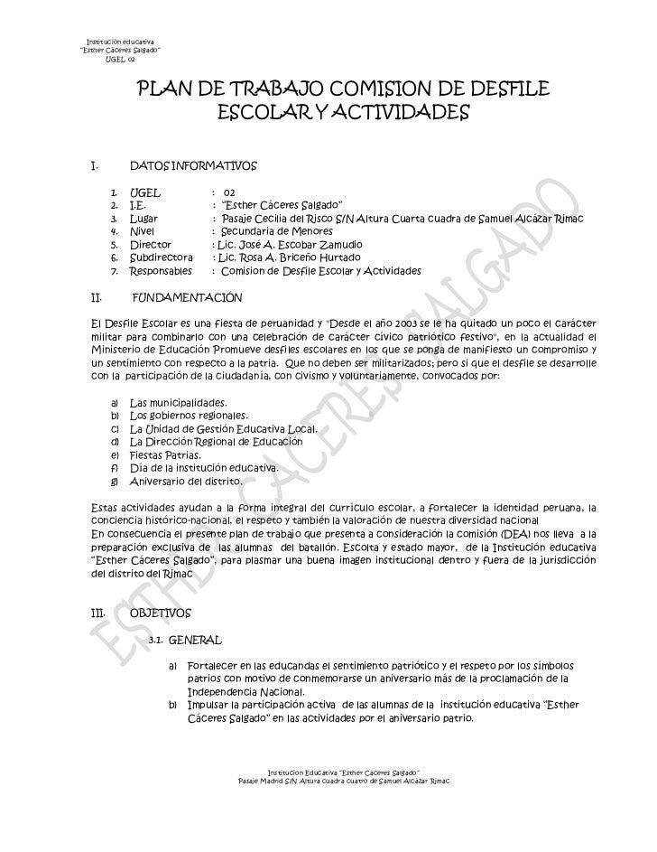 """Institución educativa""""Esther Cáceres Salgado""""UGEL 02PLAN DE TRABAJO COMISION DE DESFILE ESCOLAR Y ACTIVIDADES<br /> <br />..."""