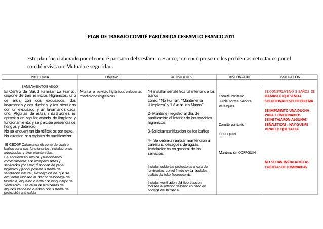 PLAN DE TRABAJO COMITÉ PARITARIOA CESFAM LO FRANCO 2011Este plan fue elaborado por el comité paritario del Cesfam Lo Franc...