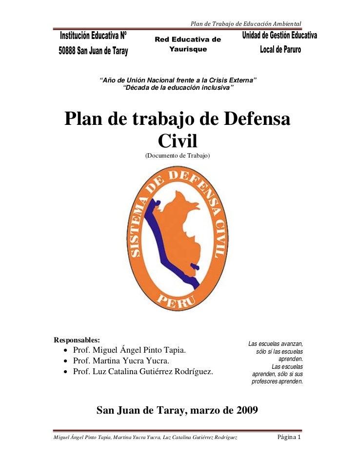 Plan De Trabajo De Defensa Civil 2009