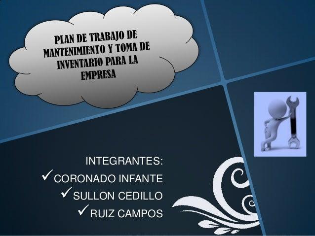 INTEGRANTES:CORONADO INFANTE  SULLON CEDILLO    RUIZ CAMPOS