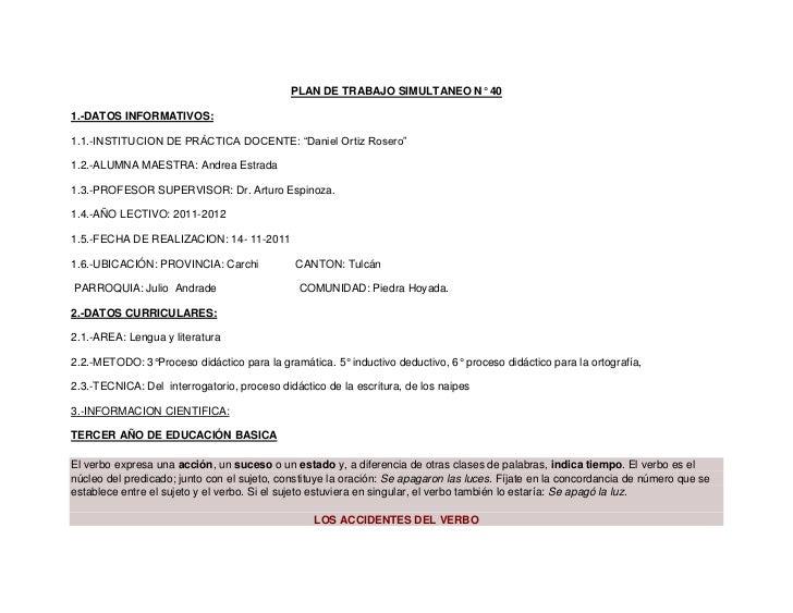 """PLAN DE TRABAJO SIMULTANEO N° 401.-DATOS INFORMATIVOS:1.1.-INSTITUCION DE PRÁCTICA DOCENTE: """"Daniel Ortiz Rosero""""1.2.-ALUM..."""