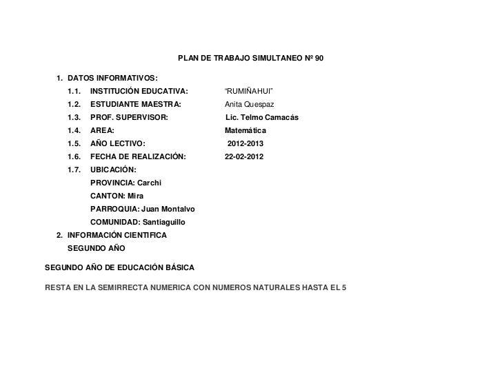 """PLAN DE TRABAJO SIMULTANEO Nº 90  1. DATOS INFORMATIVOS:    1.1.   INSTITUCIÓN EDUCATIVA:         """"RUMIÑAHUI""""    1.2.   ES..."""