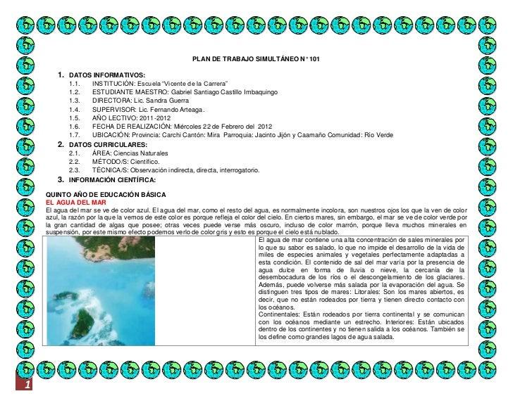 """PLAN DE TRABAJO SIMULTÁNEO N° 101        1. DATOS INFORMATIVOS:            1.1.    INSTITUCIÓN: Escuela """"Vicente de la Car..."""
