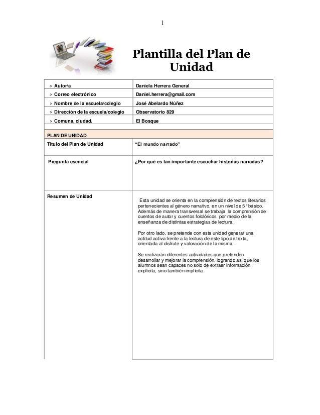 1  Plantilla del Plan de  Unidad   Autor/a  Daniela Herrera General   Correo electrónico  Daniel.herrera@gmail.com   No...