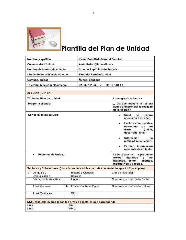 1                            Plantilla del Plan de UnidadNombre y apellido                         Karen Rebolledo/Manuel ...