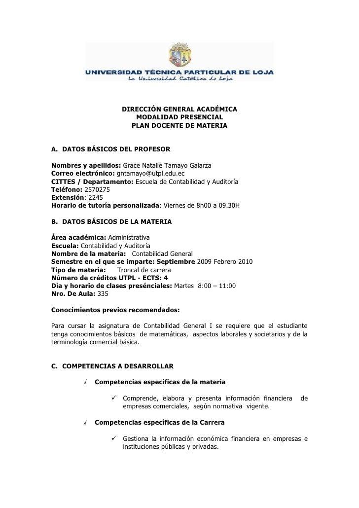 DIRECCIÓN GENERAL ACADÉMICA                           MODALIDAD PRESENCIAL                          PLAN DOCENTE DE MATERI...