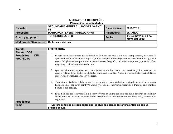 ASIGNATURA DE ESPAÑOL                                        Planeación de actividades                         SECUNDARIA ...